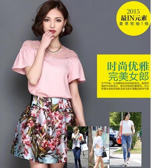 Pre-order เสื้อชีฟองประดับลูกไม้ แขนใบบัว สไตล์ย้อนยุคหวาน ๆ สีชมพู