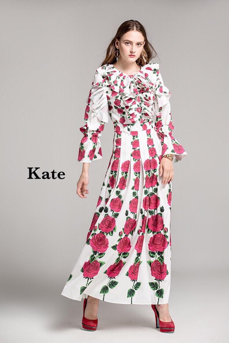 เดรสแฟชั่น Dress กุหลาบแดง หรู