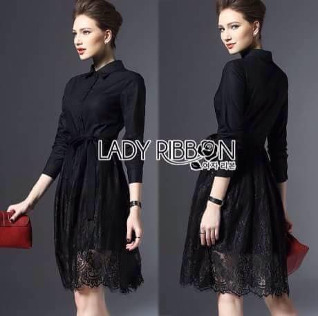Lady Ribbon's Made Lady Kelly Minimal Feminine Poplin Cotton and Lace Shirt Dress เชิ้ตเดรสผ้าป็อปลินคอตตอนตกแต่งลูกไม้สไตล์มินิมัลเฟมินีน ตัวนี้จะออกเรียบๆหวานๆ ครึ่งบนเป็นคอตตอนสีดำเรียบ ส่วนช่วงกระโปรงตกแต่งคลุมด้วยลูกไม้สีดำ ที่เอวผูกริบบิ้น ***ง