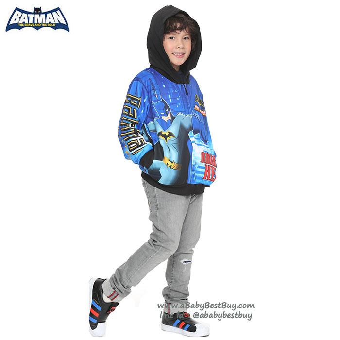 """"""" ( S-M-L-XL """" เสื้อแจ็คเก็ต BAT MAN เสื้อกันหนาว เด็กผู้ชายสกรีนลาย BAT MAN สีดำ รูดซิป มีหมวก(ฮู้ด)สกรีนหน้า BAT MAN ใส่คลุมกันหนาว กันแดด สุดเท่ห์ ใส่สบาย ลิขสิทธิ์แท้ (ไซส์ S-M-L-XL )"""