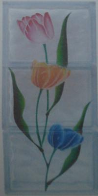บล็อคแก้วเพ้นท์ ลาย ดอกทิวลิป (BGS-308) (3 ก้อน / ชุด)