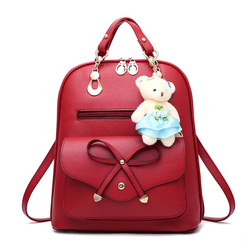 กระเป๋าเป้พวงกุญแจหมี หนัง PU ปรับสายให้สะพายไหล่ สะพายข้างได้ สีแดงหน้าโบว์
