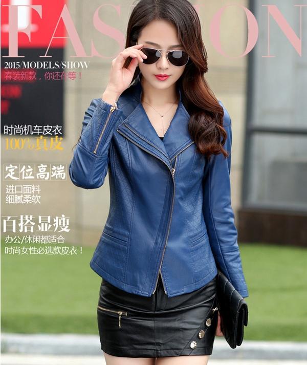 (Pre-order) เสื้อแจ็คเก็ตหนังแท้ เสื้อหนัง เสื้อโค๊ทหนัง เสื้อหนังแกะ แฟชั่นเสื้อหนัง สีน้ำเงิน
