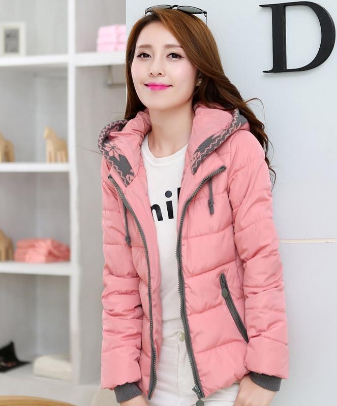 Pre-Order เสื้อโค้ทผู้หญิงแฟชั่น สีชมพู แต่งริมสีเทา มีฮู๊ด แขนจั๊ม แฟชั่นเกาหลี