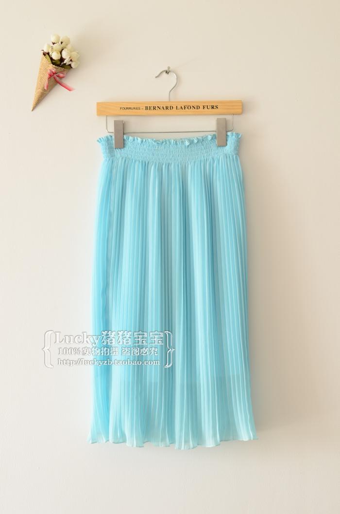 Pre-Order กระโปรงพลีท ความยาวแค่เข่า ผ้าชีฟอง กระโปรงแฟชั่นเกาหลี สีฟ้า