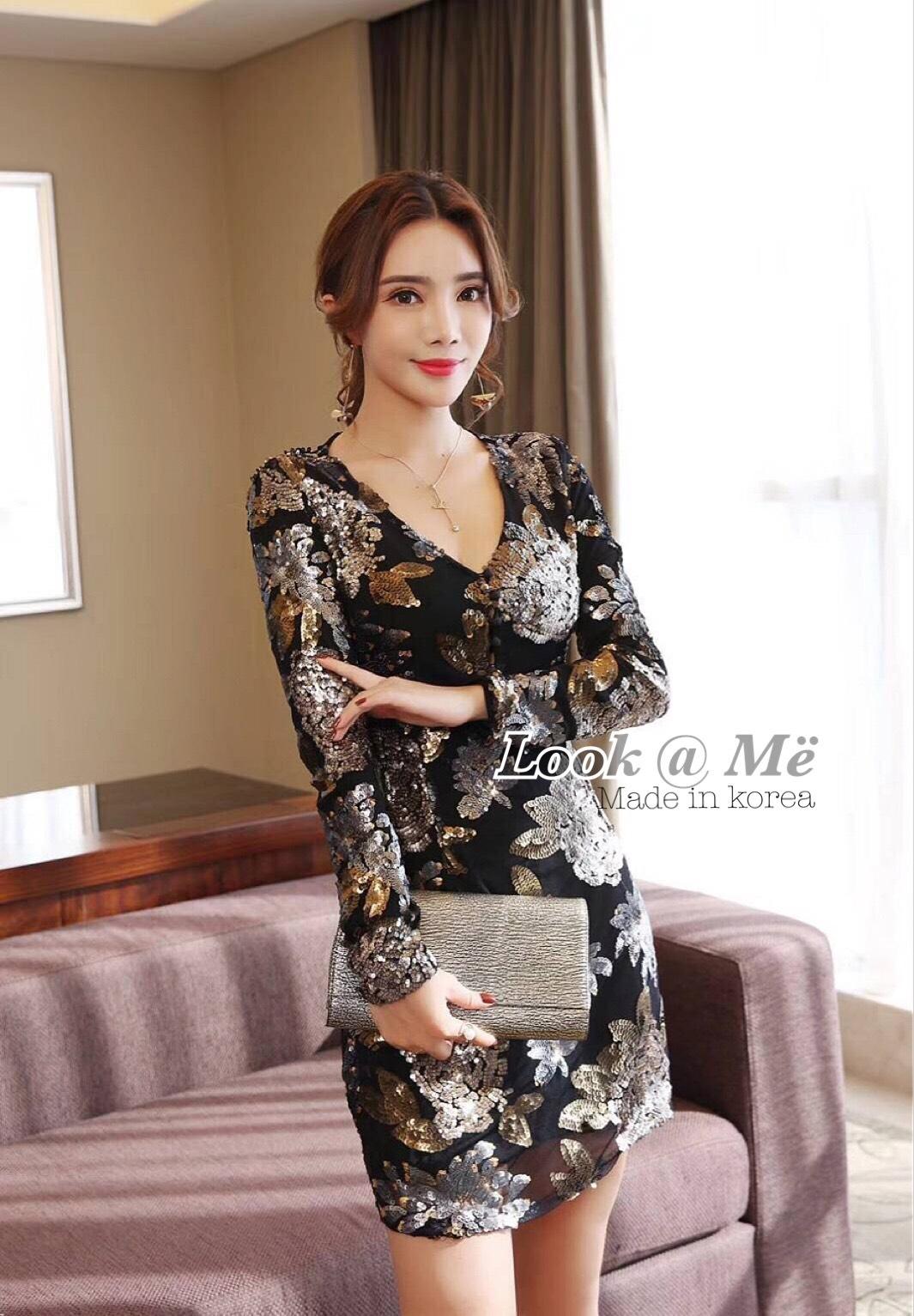 เดรสแฟชั่น Dress ชุดกระโปรงสุดแซปแขนยาวสีดำ ปักเลื่อมดอกไม้แน่นทั้งชุด