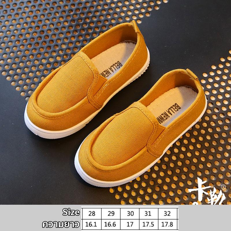 รองเท้าผ้าใบเด็ก สีเหลืองเข้ม