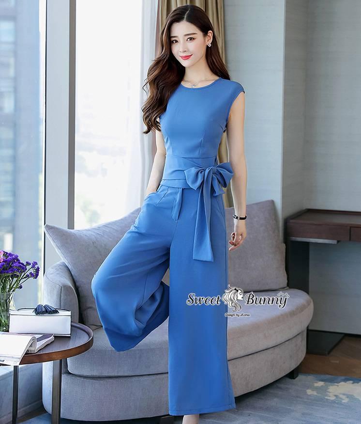 ชุดเซทแฟชั่น ชุดเซ็ทเสื้อ+กางเกงงานเกาหลี ผ้าพื้นสีฟ้าเนื้อนุ่มผ้าดีมีน้ำหนัก
