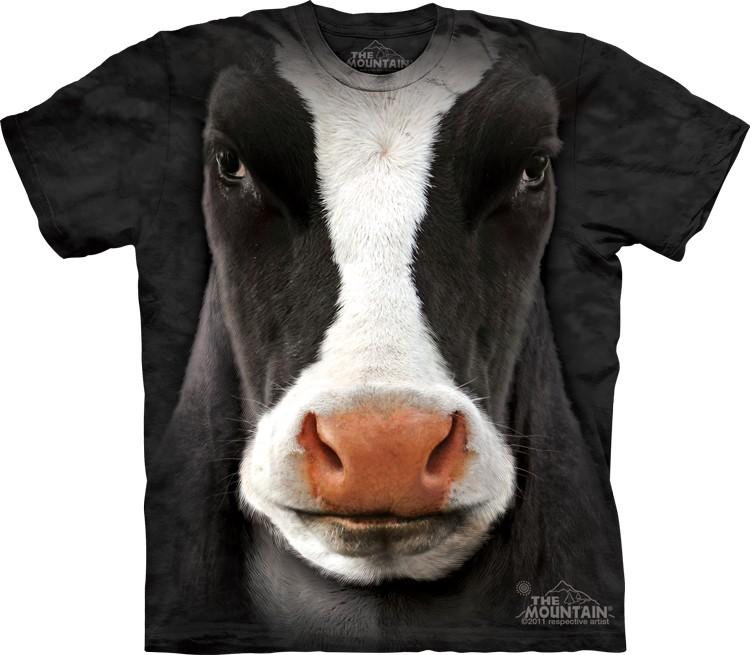 Pre.เสื้อยืดพิมพ์ลาย3D The Mountain T-shirt : Black Cow Face