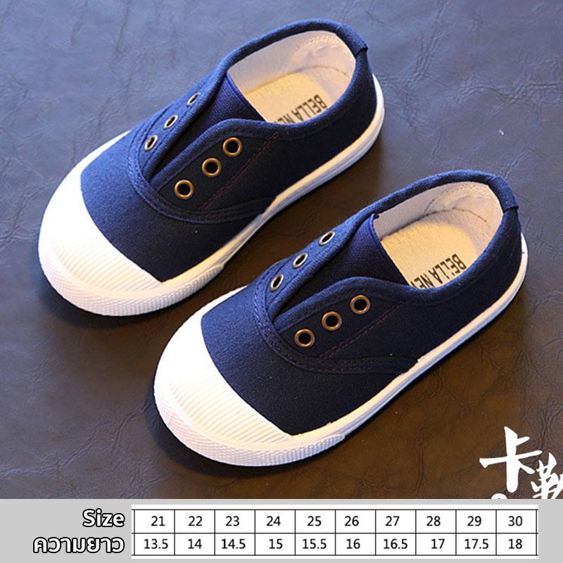 รองเท้าผ้าใบเด็กแบบสวม สีกรม