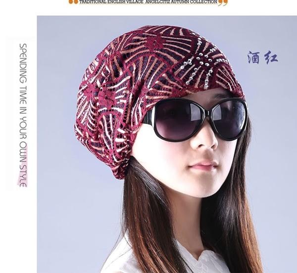 Pre-order หมวกแฟชั่นผ้าลูกไม้เรียบ ๆ ปักดิ้น เนื้อผ้าบางเบา สไตล์เกาหลี สวมคลุมผมเวลาไปธุระนอกบ้านกันแดด กันลม กันน้ำค้าง สำเนา