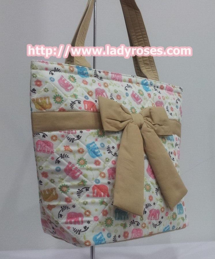 กระเป๋าสะพาย นารายา ผ้าคอตตอน ลายช้าง หลากสี ผูกโบว์ (กระเป๋านารายา กระเป๋าผ้า NaRaYa กระเป๋าแฟชั่น)