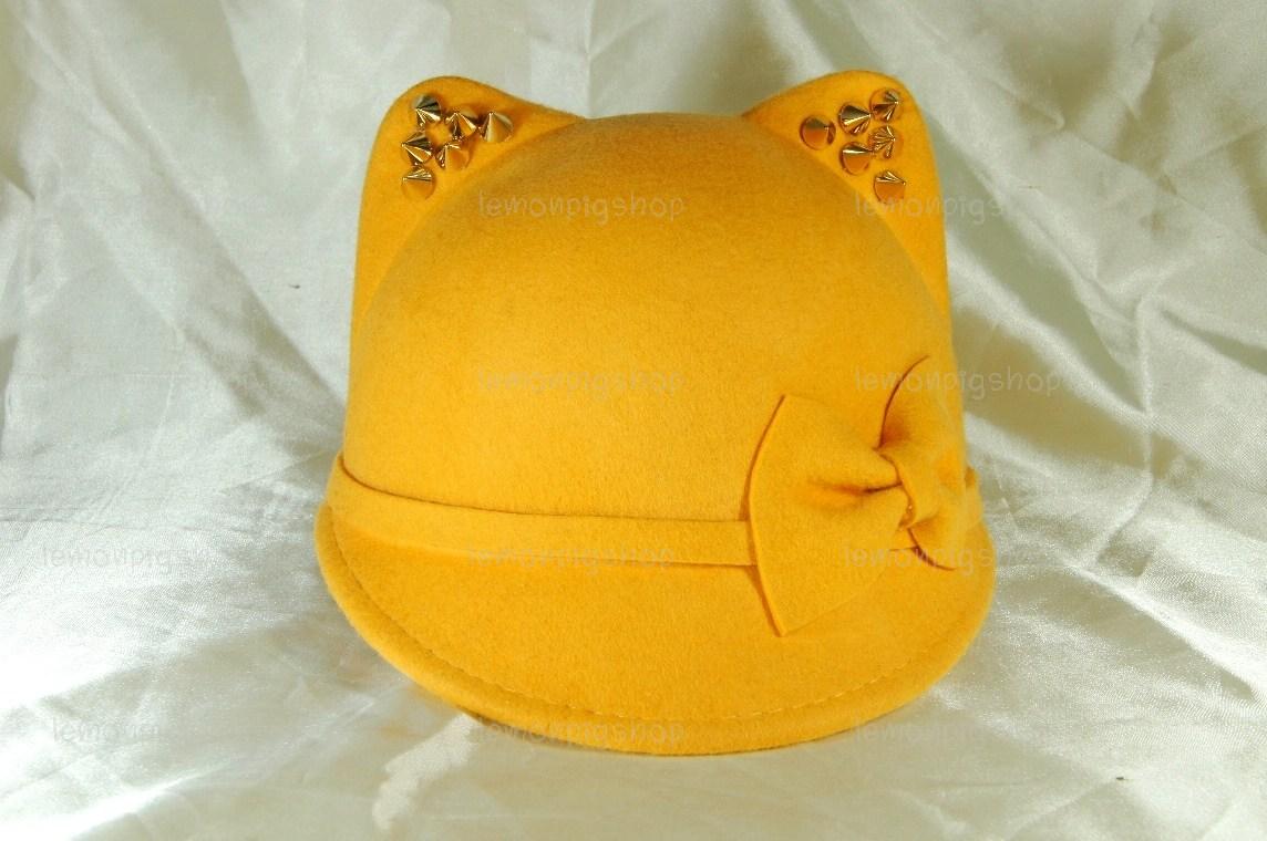 หมวกหูแมว ปีกหน้าทรงจ็อกกี้ สีเหลือง มีโบว์ หูหนาม !!!