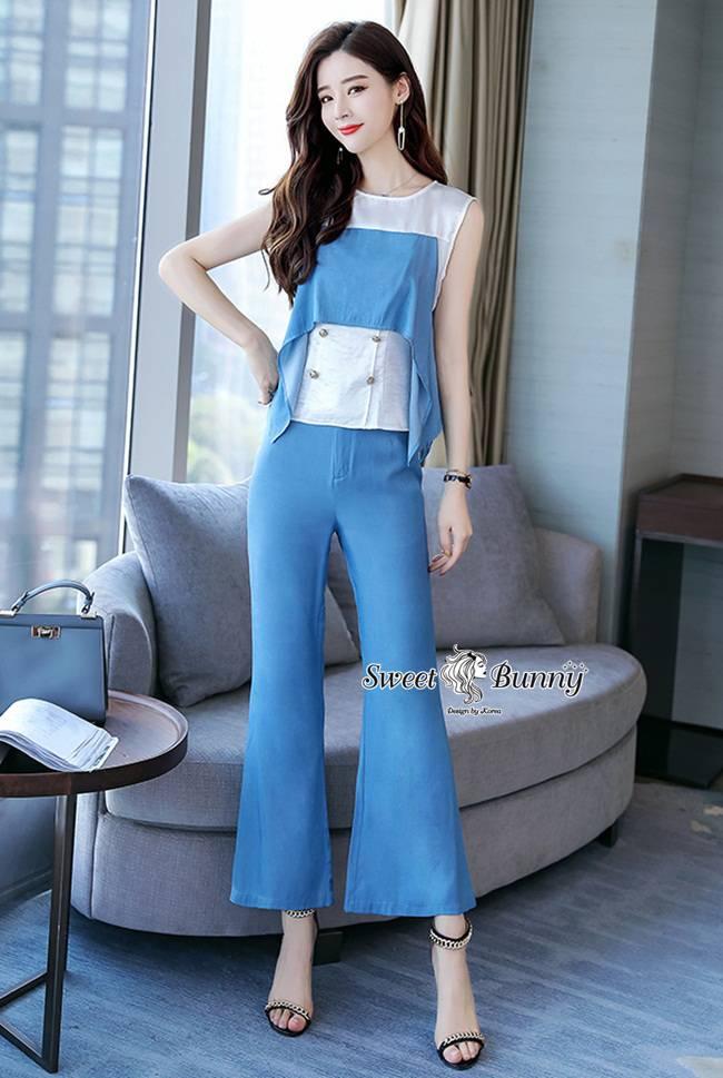 ชุดเซทแฟชั่น ชุดเซ็ทเสื้อ+กางเกงเกาหลี เสื้อผ้าเนื้อดีเงาสวยนุ่ม
