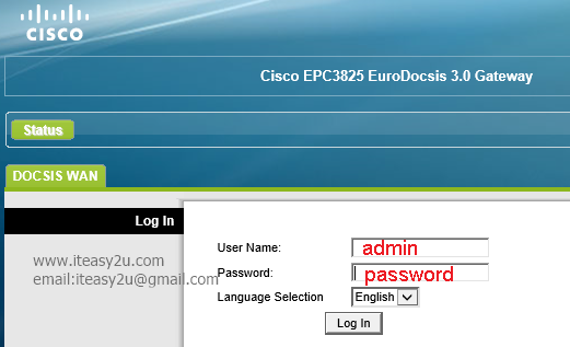 Cisco EPC 3825 login