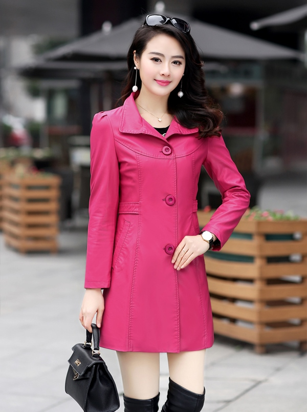 (Pre-order) เสื้อแจ็คเก็ตหนังแท้ เสื้อโค๊ตยาว หนังแกะ แฟชั่นเกาหลี สีกุหลาบ