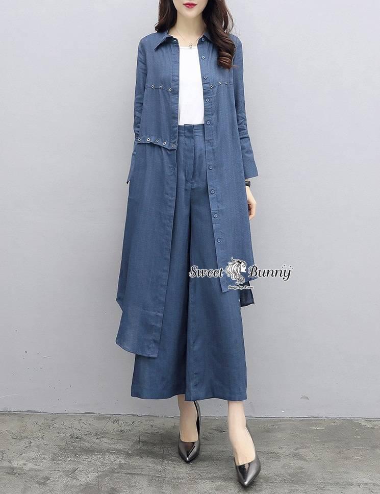 ชุดเซทแฟชั่น ชุดเซ็ทเสื้อ+กางเกงงานเกาหลี ผ้าสีกรมเนื้อดีผ้านุ่มมีน้ำหนักใส่สบาย