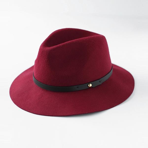 Pre-order หมวกผ้าขนสัตว์อินเดียน่าโจนหมวกเท่ ๆ หมวกแฟชั่นสไตล์วินเทจ กันแดด กันแสงยูวี สีไวน์แดง