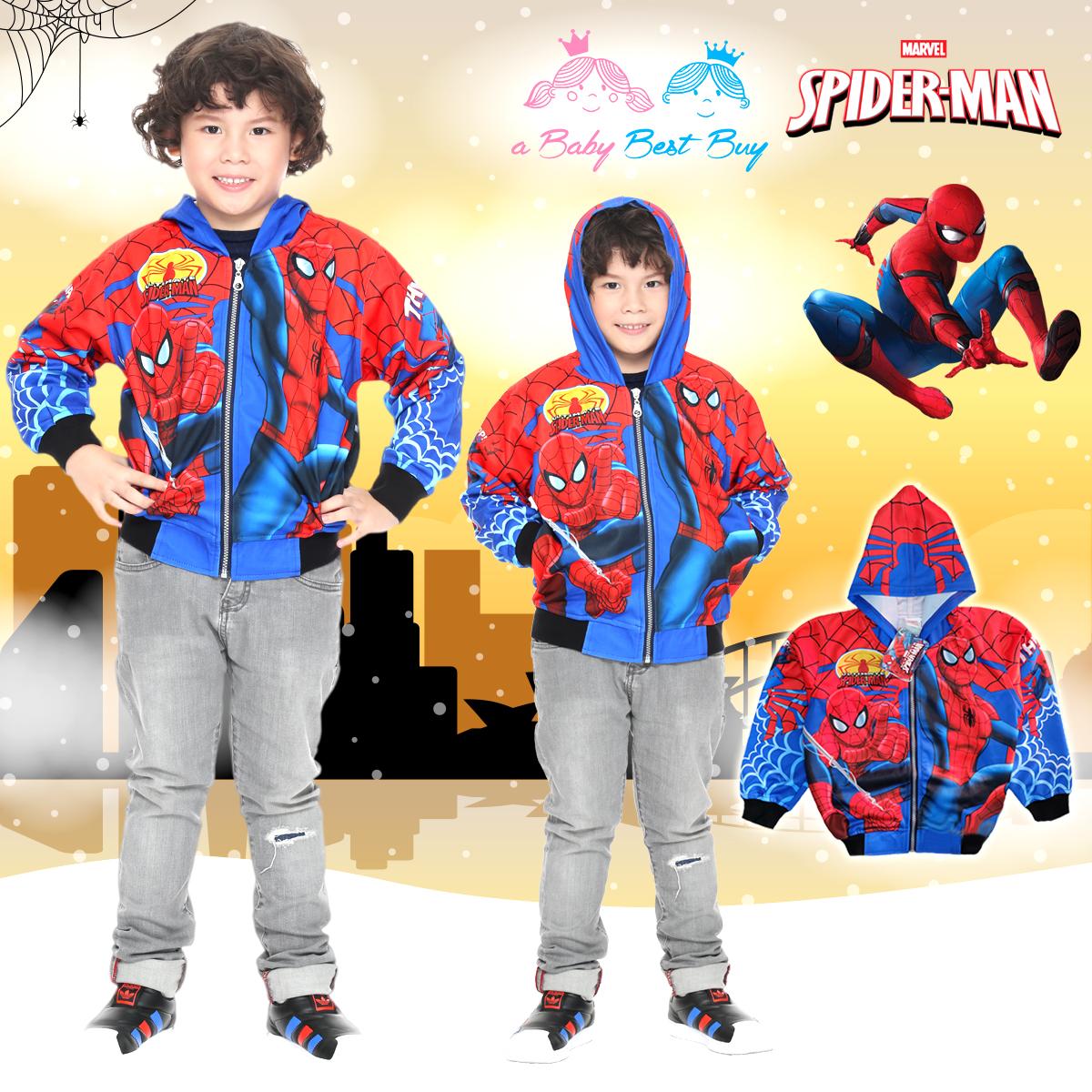 """"""" ( S-M-L-XL """" เสื้อแจ็คเก็ต Spiderman เสื้อกันหนาว เด็กผู้ชาย สีน้ำเงิน รูดซิป มีหมวก(ฮู้ด) ใส่คลุมกันหนาว กันแดด สุดเท่ห์ ใส่สบาย ลิขสิทธิ์แท้ (ไซส์ S-M-L-XL )"""