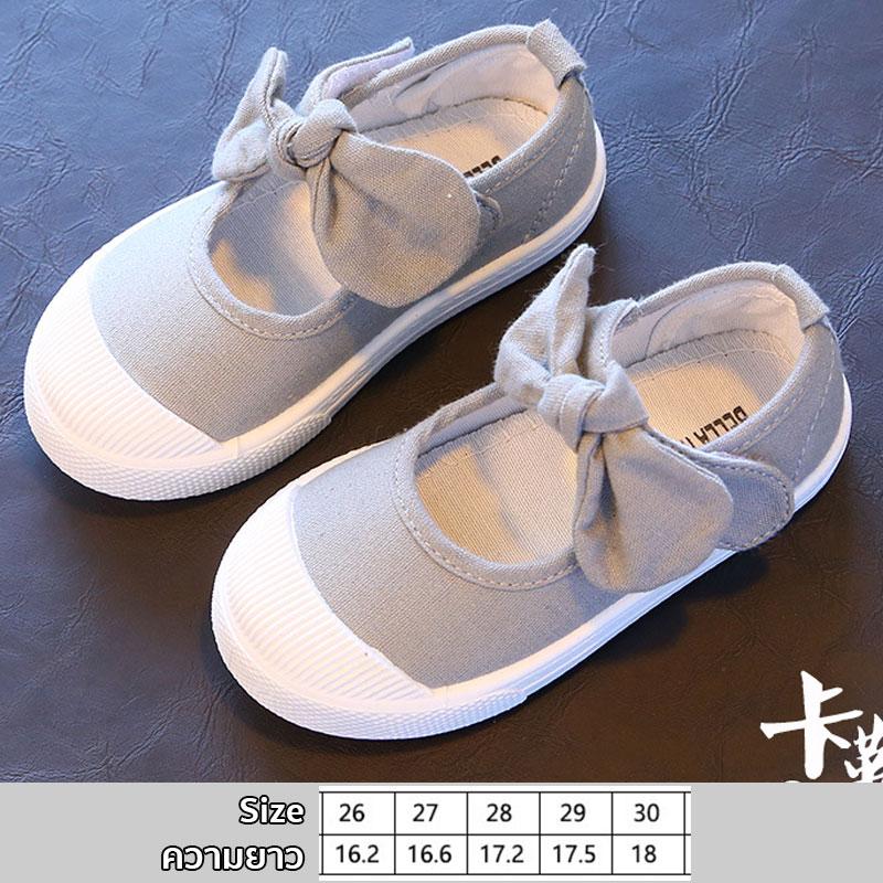 รองเท้าผ้าใบเด็กผูกโบว์ สีเทา