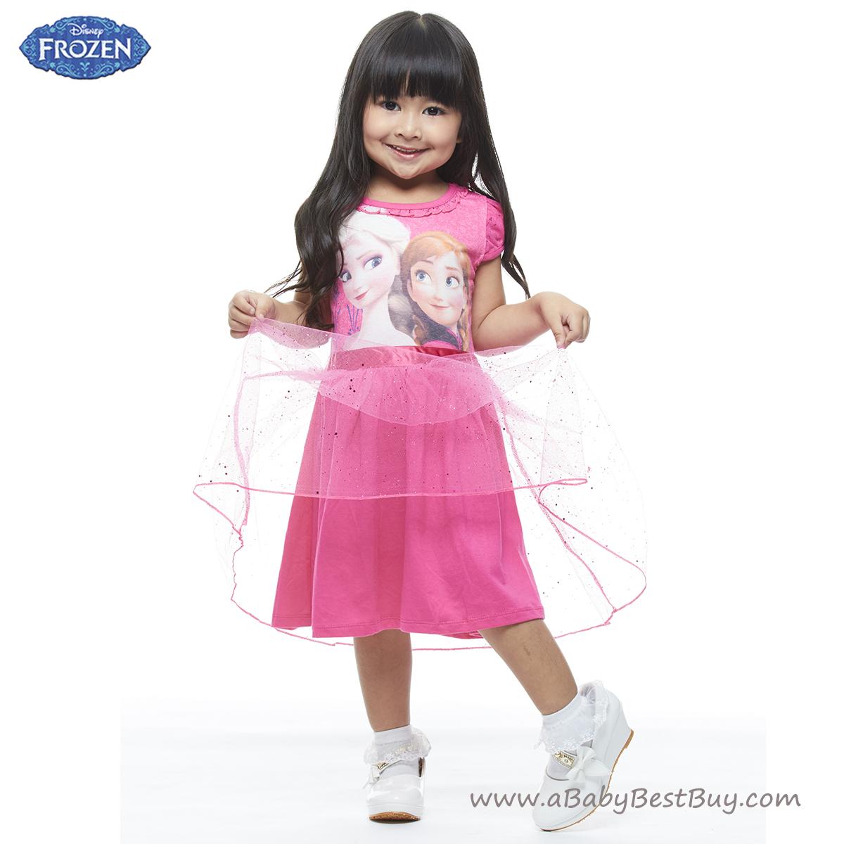 ( 4-6-8-10 ปี ) ชุดเดรส เจ้าหญิงโฟรเซ่น กระโปรงสั้น แขนสั้น สีชมพูเข้ม ดิสนีย์แท้ ลิขสิทธิ์แท้ (สำหรับเด็ก4-6-8-10 ปี)