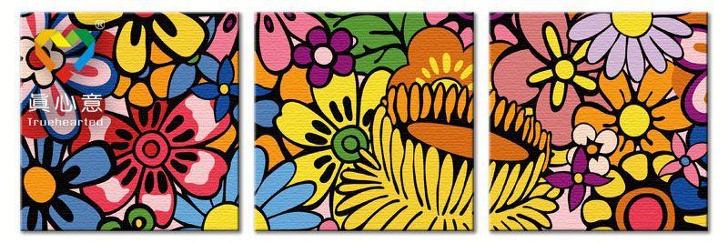 รหัส PH340120059 ภาพระบายสีตามตัวเลข Paint by Number แบบ Impression of flower field ขนาด40x40cm จำนวน 3 ภาพ/พร้อมส่ง
