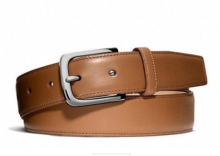 สินค้าพร้อมส่ง : เข็มขัด Coach F66100 SV/BK men belt leather หนังแท้สีน้ำตาลกาแฟ