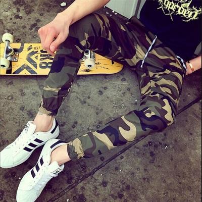 กางเกงขายาวญี่ปุ่น ลายพรางทหาร แนวRetro ทรงSlim จั้มปลายขา มี2สี