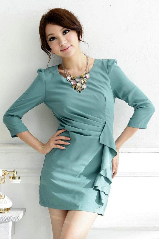++เสื้อผ้าไซส์ใหญ่++IOEOI *Pre-Order*เดรสทำงาน แขนสี่ส่วนไซส์ใหญ่ ผ้าจอร์เจียสีเขียวจับจีบเฉียงแต่งระบายกระโปรงทรงสอบเข้ารูป