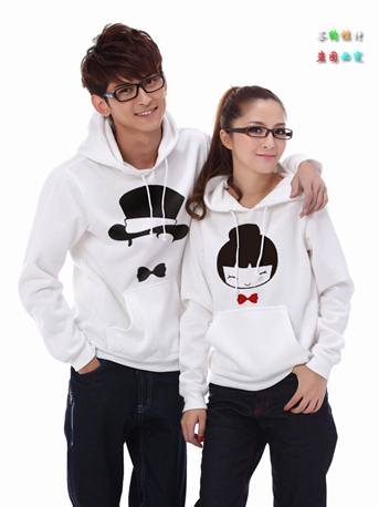 Pre Order เสื้อกันหนาวคู่รักแฟชั่นเกาหลี แขนยาว มีฮู้ด พิมพ์ลายการ์ตูน สีขาว