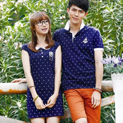 Pre Order ชุดคู่รักแฟชั่นเกาหลี เสื้อโปโลผู้ชายพิมพ์ลายสมอ+เดรสเข้ารูปทรงเอคอบัว มี2สี