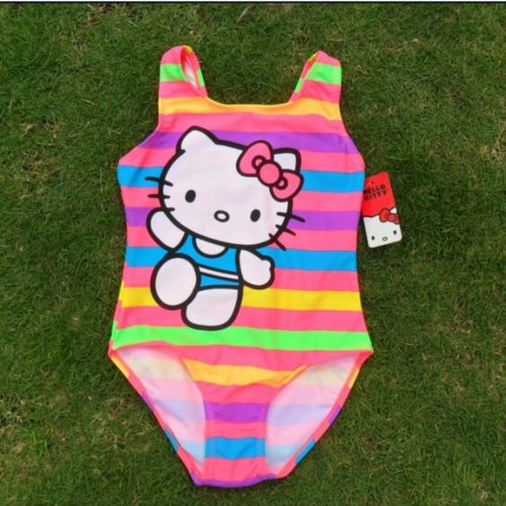 ชุดว่ายน้ำเด็ก ฮัลโหลคิตตี้ Hello kitty ลายคิตตี้สีรุ้ง