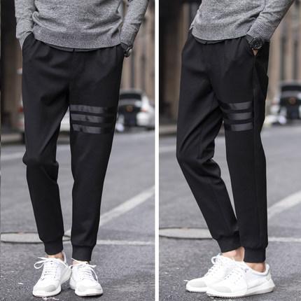 กางเกงขายาวเกาหลี สีดำ แต่งแถบเส้น ขาจั้ม