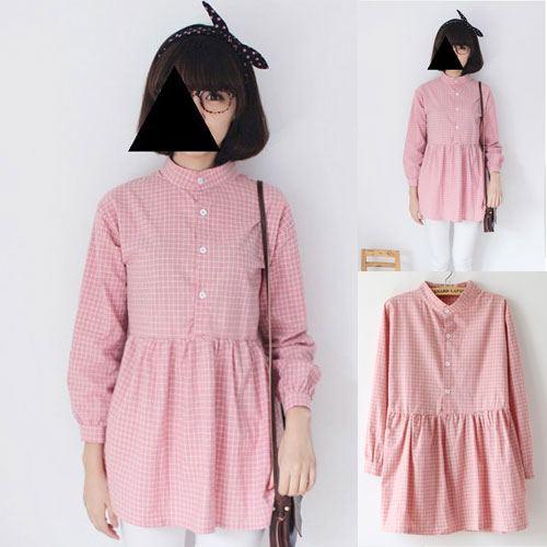 ++สินค้าพร้อมส่งค่ะ++ เสื้อแฟชั่นเกาหลี ตัวยาว คอจีน แขนยาว ผ้า cotton blend พิมพ์ลายช่องเก๋ กระดุมครึ่งตัวด้านหน้า มี 3 สีค่ะ – สีชมพู