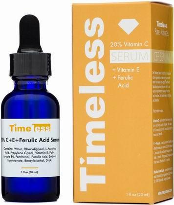 Timeless 20% Vitamin C + E + Ferulic Acid ขนาด 30ml ปรับสีผิวให้สม่ำเสมอ ช่วยให้ผิวชุ่มชื้น สว่างใส ผิวหน้ารู้สึกเนียนขึ้น และอ่อนเยาว์