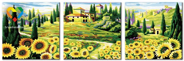 รหัส PH340120082 ภาพระบายสีตามตัวเลข Paint by Number แบบ Love of the place ขนาด40x40cm จำนวน 3 ภาพ/พร้อมส่ง