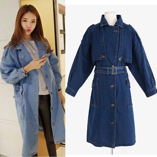 ++สินค้าพร้อมส่งค่ะ++ เสื้อ Coat แฟชั่นเกาหลี ตัวยาว ตอปก แขนยาว ผ้ายีนส์เนื้อดีมากค่ะ ดีไซด์เท่ห์ เข็มขัด 1 เส้น มี 2 สีค่ะ สี Dark Blue
