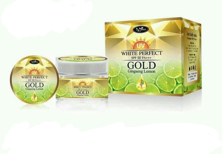 ครีมโสมมะนาวทองคำ Gold ginseng lemon uv white perfect spf 50++ by jeezz