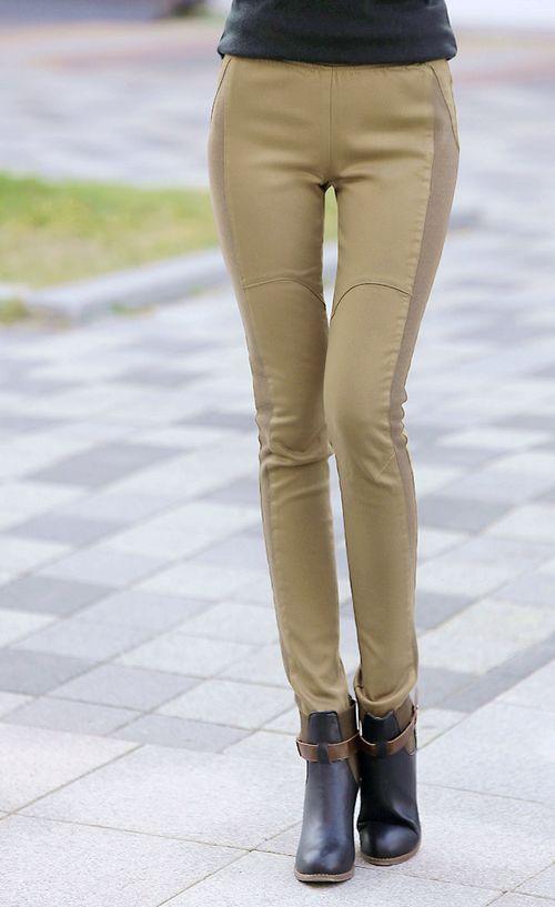 Pre Order - กางเกงแฟชั่นคนอ้วน Big Size ยืดได้ กระชับ ดีไซด์เรียบง่าย มีกระเป๋าหลังทั้งสองข้าง สี : สีดำ / สีแทน