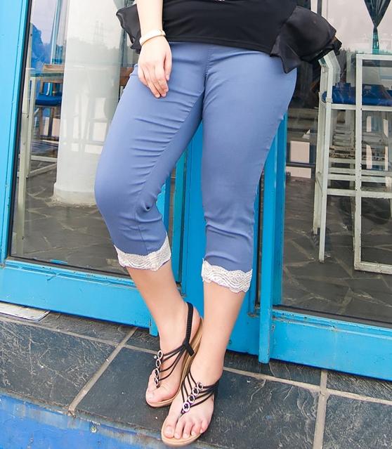 Pre Order - กางเกงแฟชั่นคนอ้วน Big Size กางเกงสามส่วนสกินนี่ ยืดได้ สี : สีฟ้า / สีดำ