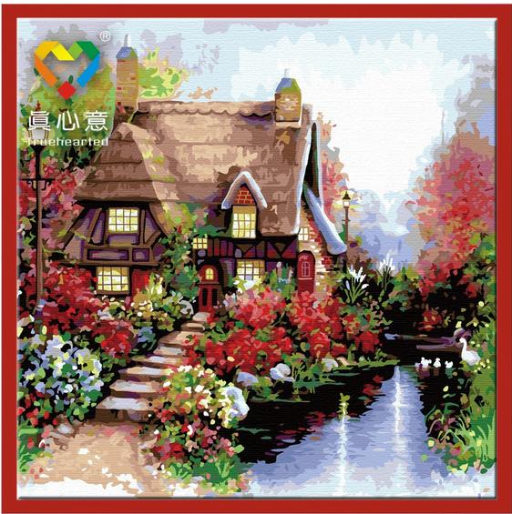 รหัส DH6060008 ภาพระบายสีตามตัวเลข Paint by Number แบบ Beautiful house ขนาด60x60cm/พร้อมส่ง