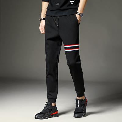 Pre Order กางเกงวอร์มขายาว แนวเกาหลี แต่งแถบสีคาด ขาจั๊ม สีดำ