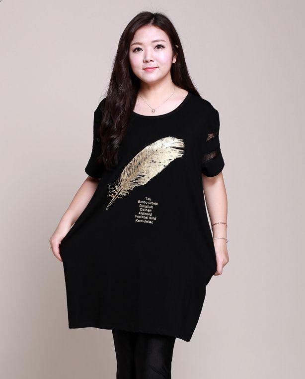 PreOrderเสื้อผ้าคนอ้วน - เสื้อยืดแฟชั่นตัวยาว เป็นเดรสได้ แขนตัดผ้าลูกไม้ หน้าอกพิมพ์เลื่อมขนนก สีดำ