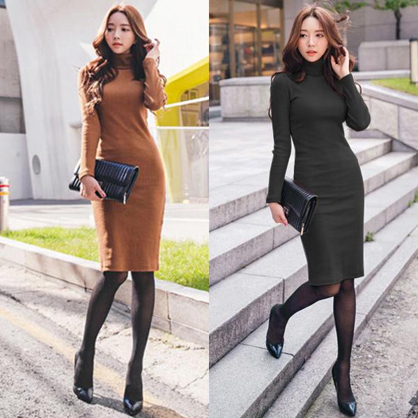 Pre Order ชุดเดรสผ้าถักแฟชั่นเกาหลี ทรงเข้ารูป แขนยาวคอเต่า ดีไซน์เรียบหรู มี2สี