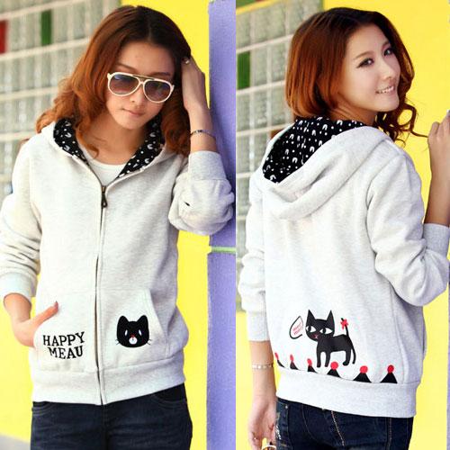 ++สินค้าพร้อมส่งค่++ Jacket เกาหลี แขนยาว มี hood สองชั้น ลาย น้องแมวหน้าหลังน่ารัก สีเทา