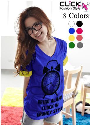 เสื้อยืดแฟชั่น คอวี แขนเบิ้ล ลาย Alarm Clock (Size M: 35) สีน้ำเงิน