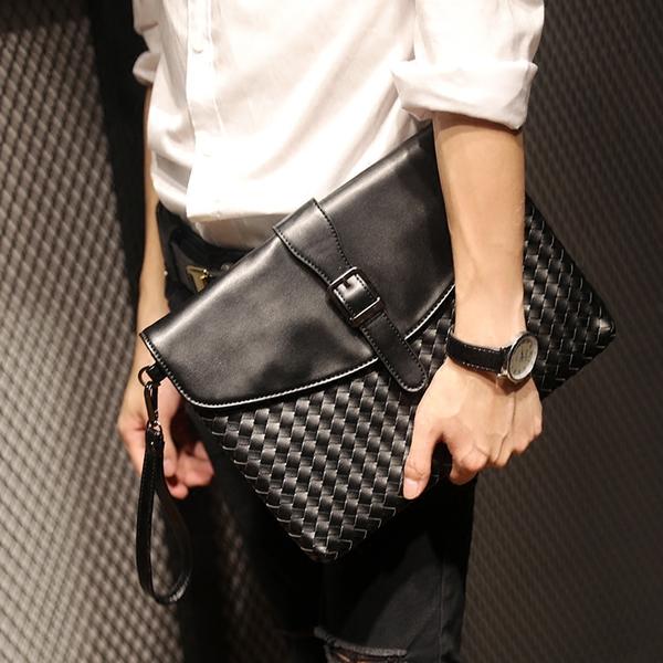 Pre-order กระเป๋าคลัทซ์และสะพายข้างผู้ชายแฟขั่นเกาหลี ลายสาน ใส่ ipad 8 นิ้ว รหัส Man-8692 สีดำ