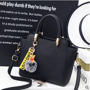 Pre-order กระเป๋าถือและสะพายข้าง ผู้หญิง แฟชั่นเกาหลี รหัส Yi-8509 สีดำ *แถมป๋อมหมี