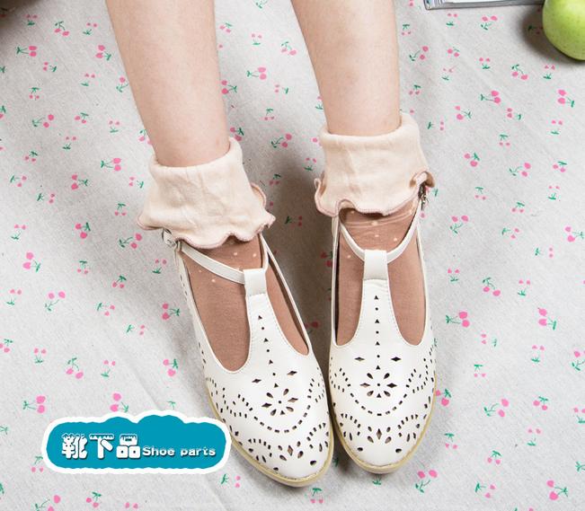 [พิเศษ 2 คู่ 100 ] ถุงเท้าพับข้อแต่งระบายน่ารักมีสีใหเลือก 5 สี
