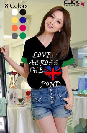 เสื้อยืดแฟชั่น คอวี แขนเบิ้ล ลาย Loved Across สีดำ (Size M : 34 นิ้ว)